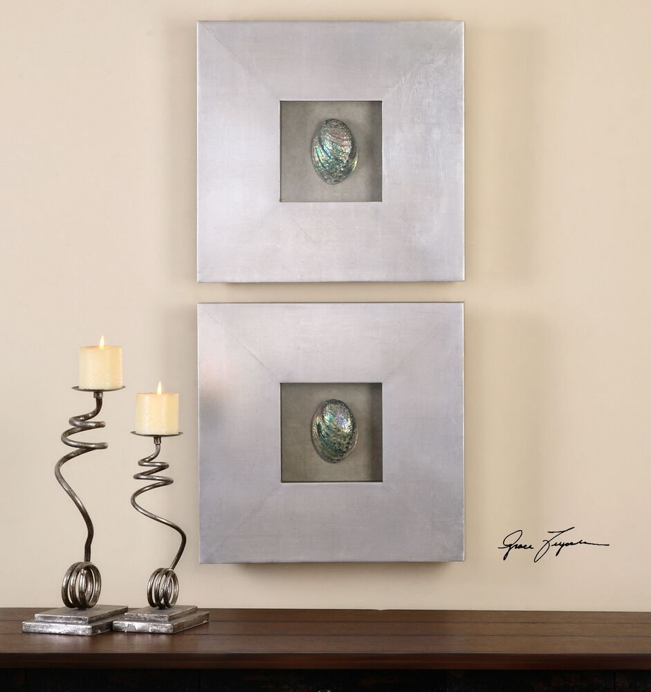 Uttermost abalone shells silver wall art s 2 mathis for Silver wall art