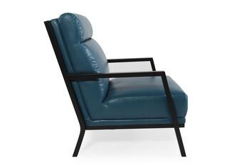 Boulevard Blue Leather Accent Chair