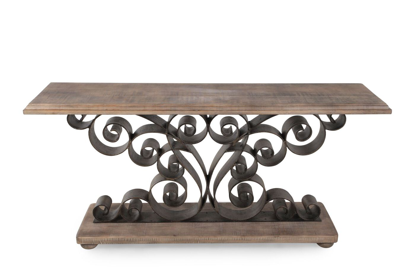 Hooker metal scroll console table mathis brothers furniture for Table th scroll