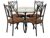 LA Home Glass Top Five-Piece Dining Set