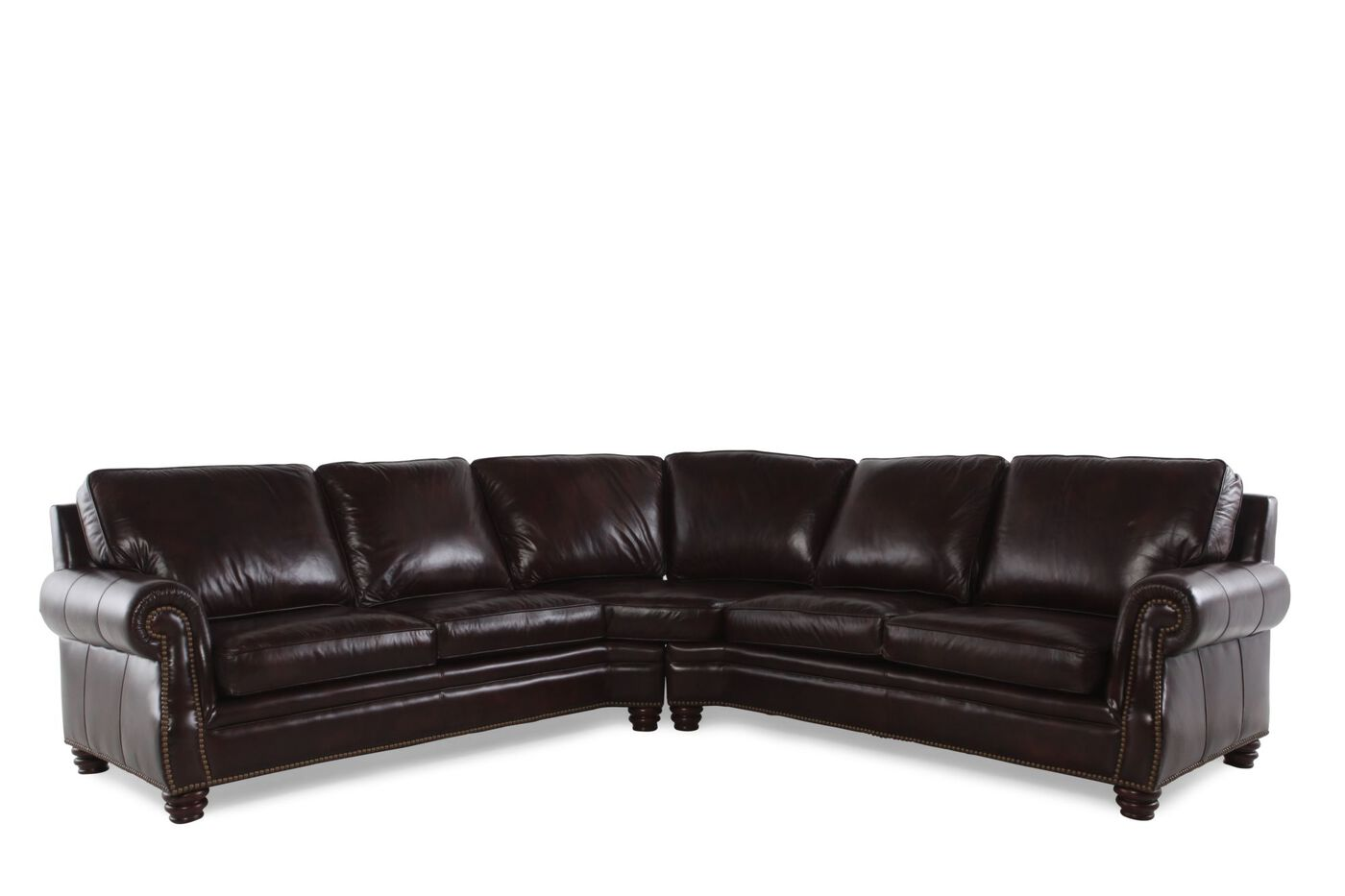 Henredon two piece leather sectional mathis brothers for Sectional sofa mathis brothers