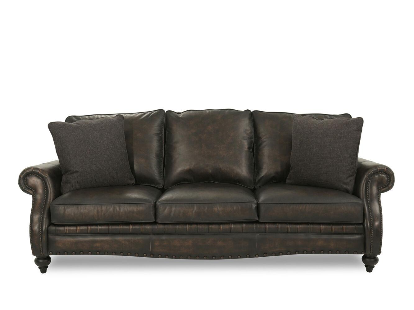 Bernhardt Tucker Leather Mocha Sofa  Mathis Brothers Furniture