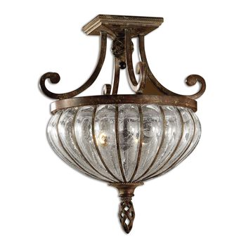 Uttermost Galeana 2 Light Glass Semi Flushmount