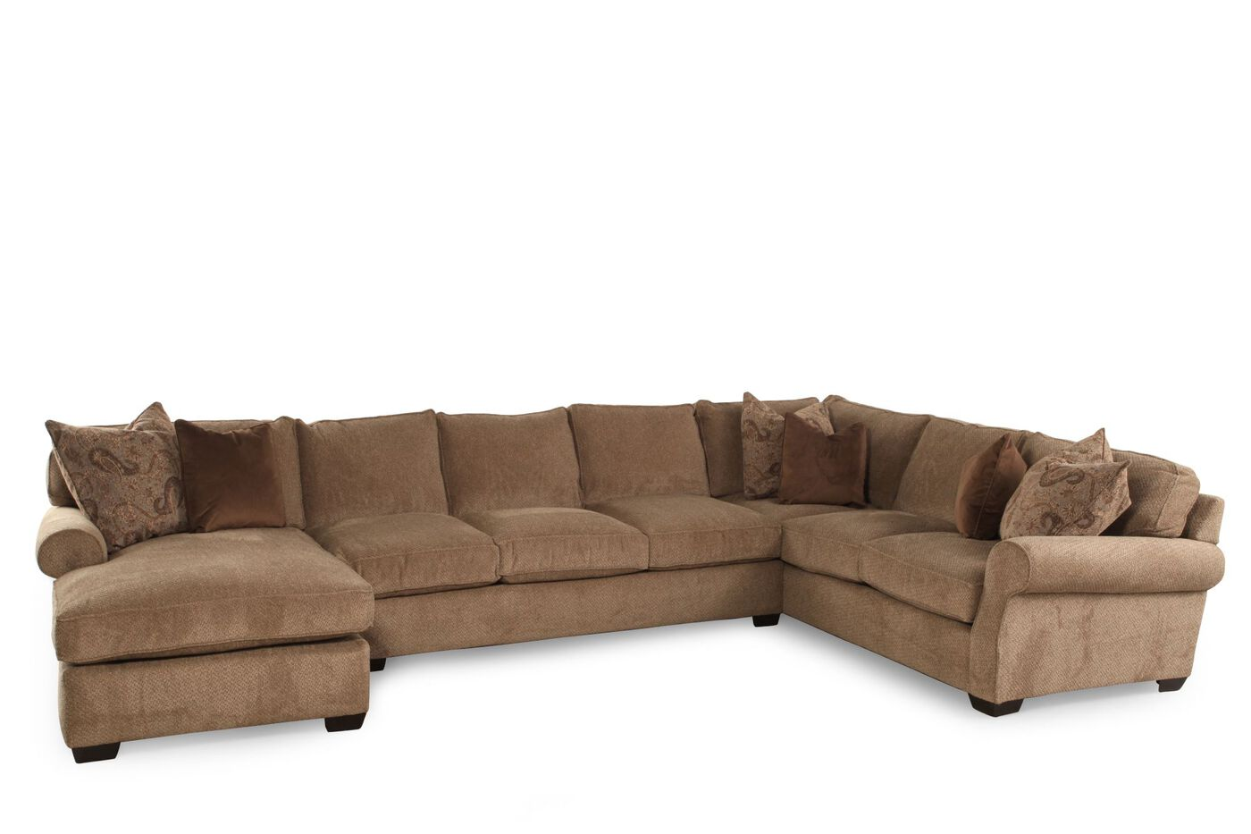 Lane jonah stone three piece sectional mathis brothers for Sectional sofas