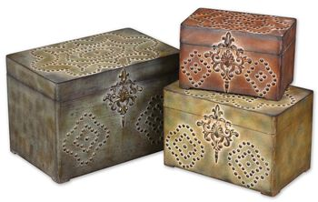 Uttermost Hobnail Weathered Boxes, Set/3
