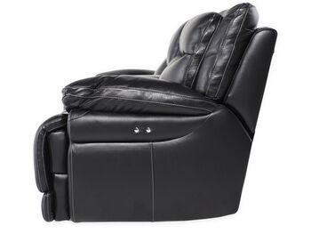 Simon Li Leather Shining Tips Midnight Power Loveseat with Console