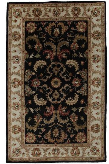 LBJ Hand Tufted Wool Black/Ivy Traditional Rug