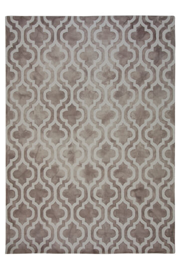 LBJ Hand Tufted Wool Beige Geometric Rug