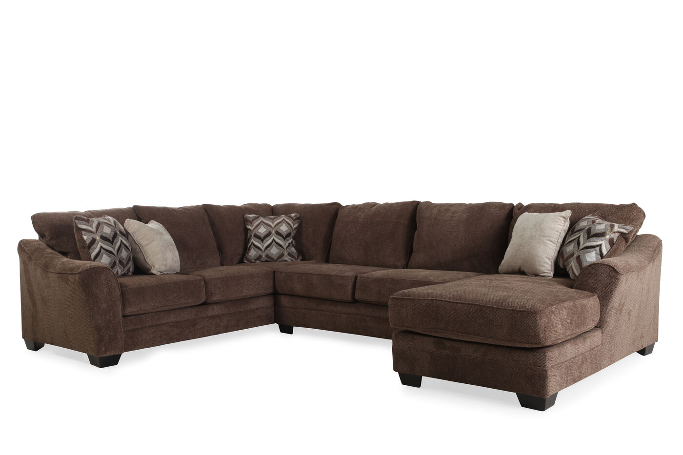 Ashley 3 piece sectional mathis brothers furniture for 3 piece sectional sofa with recliner
