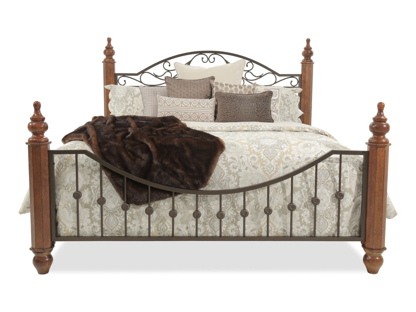 ashley 61 turned wood post country bed in cherry - Country Bed Frames