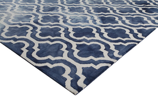 LBJ Hand Tufted Wool Navy Geometric Rug