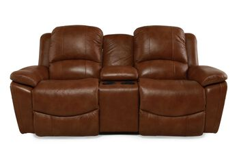 La-Z-Boy Owen Wheat Leather Double Reclining with Console