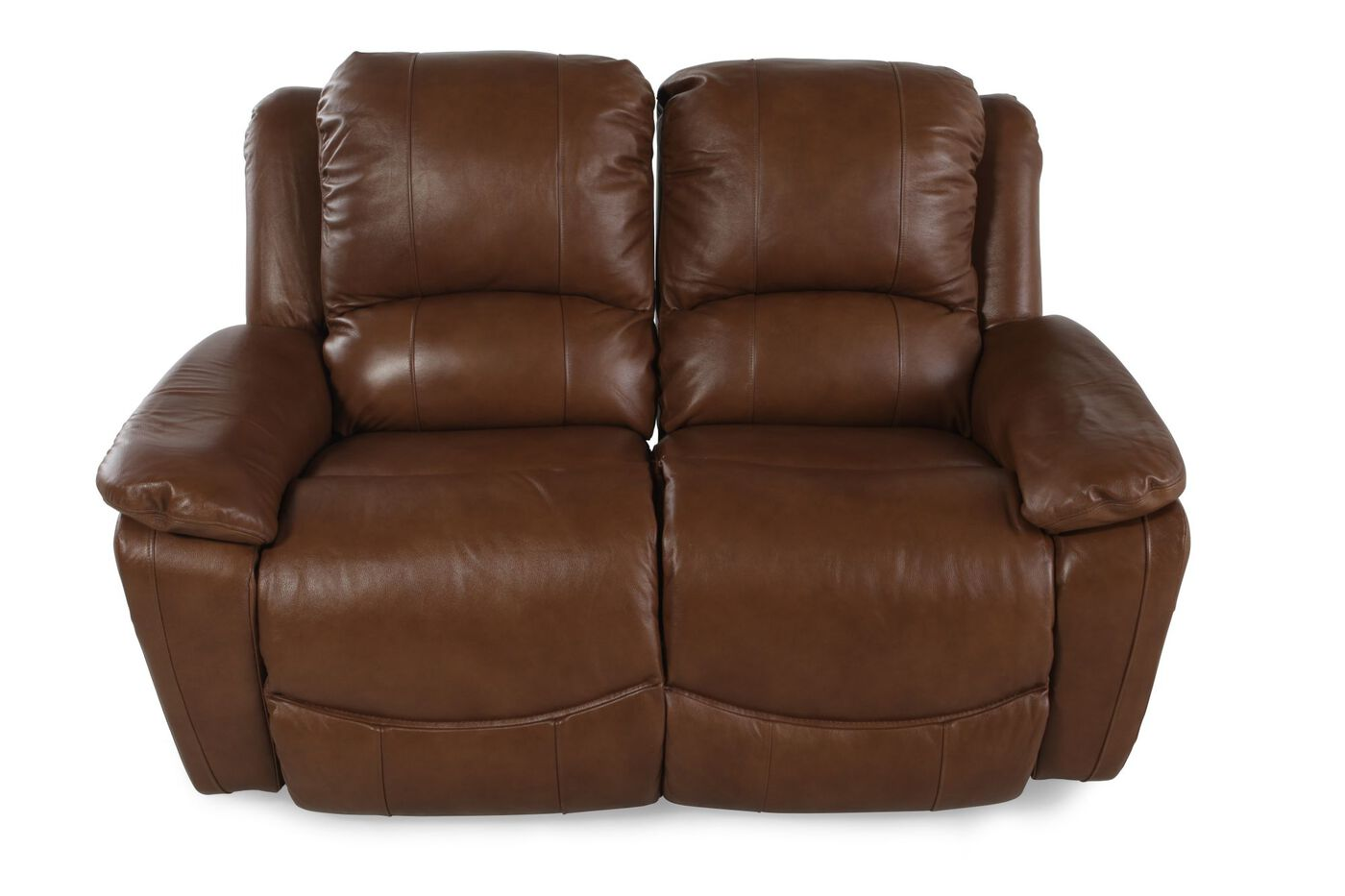 La Z Boy Owen Wheat Leather Reclining Loveseat Mathis Brothers Furniture