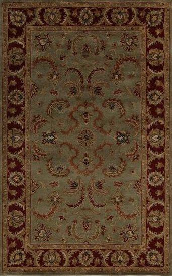 LBJ Hand-Tufted Wool Green/Rust Rug
