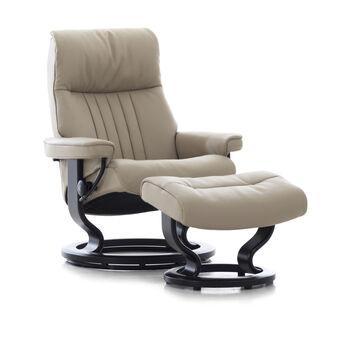 Stressless Crown Medium Cori Fog Chair and Ottoman