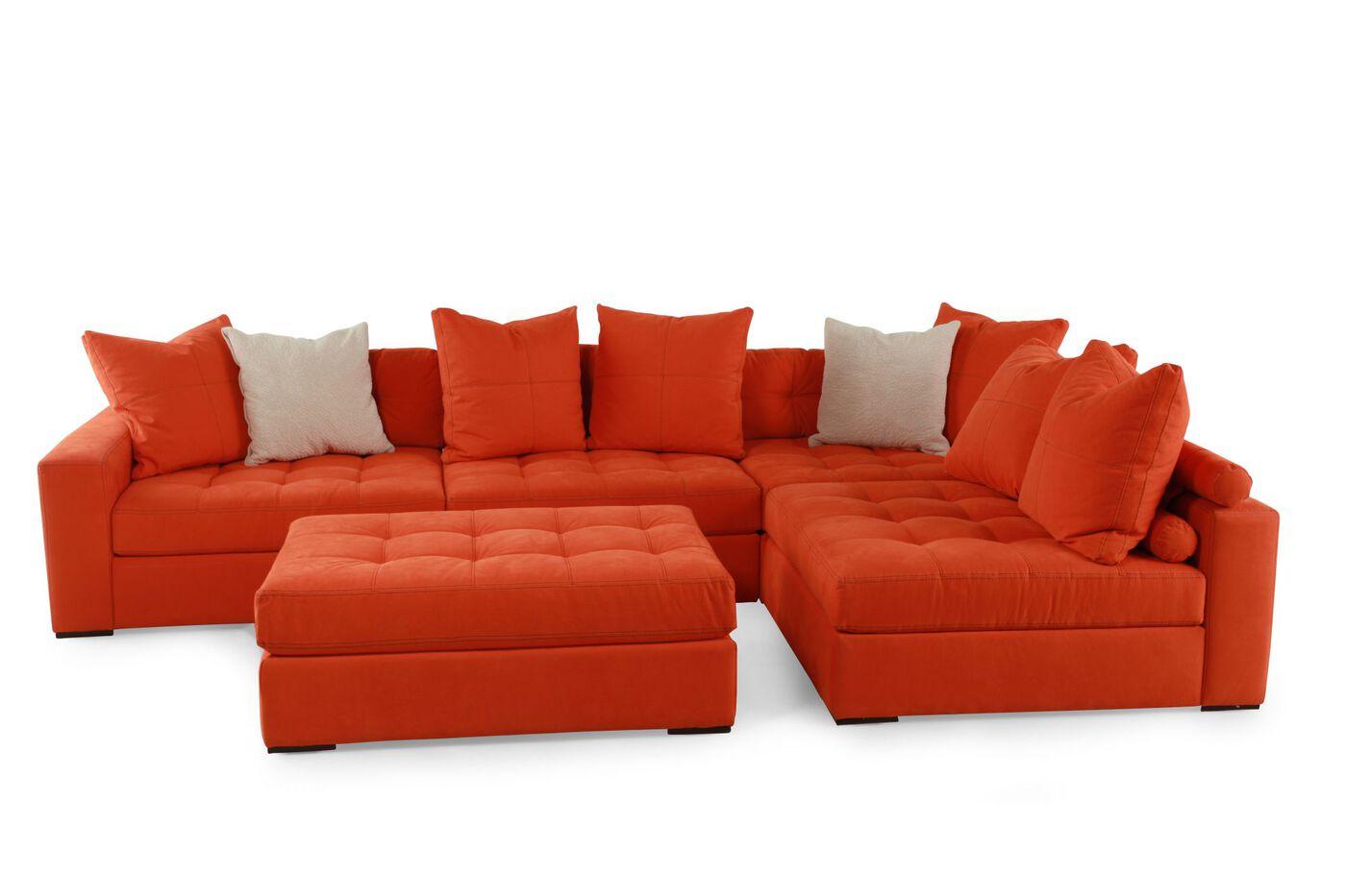 jonathan louis noah orange sectional mathis brothers. Black Bedroom Furniture Sets. Home Design Ideas