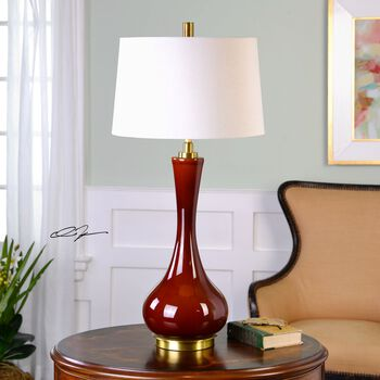 Uttermost Vernazza Rust Red Table Lamp