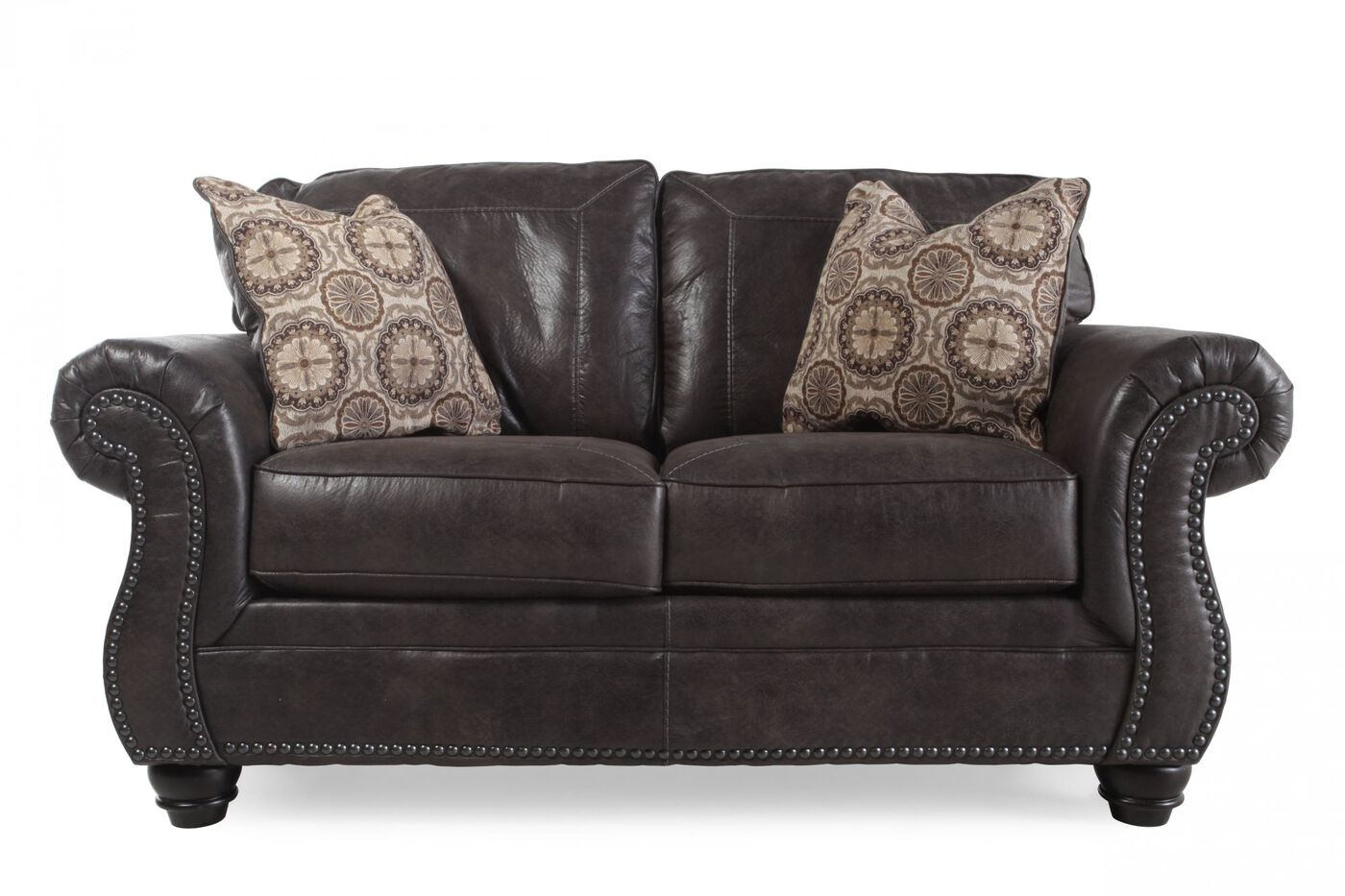 Ashley Breville Charcoal Loveseat Mathis Brothers Furniture