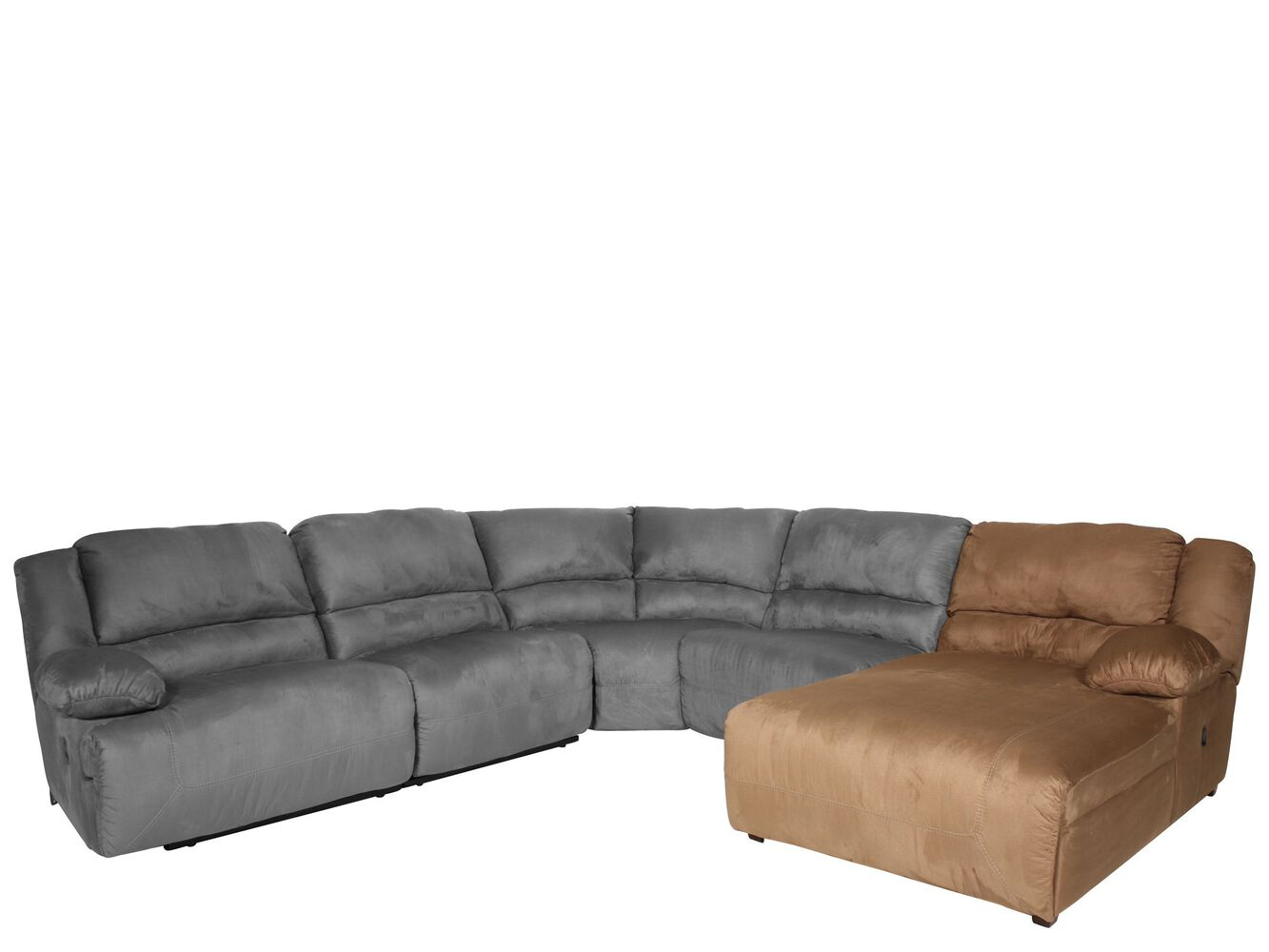 Ashley hogan right arm facing chaise mathis brothers for Ashley mocha sectional with chaise
