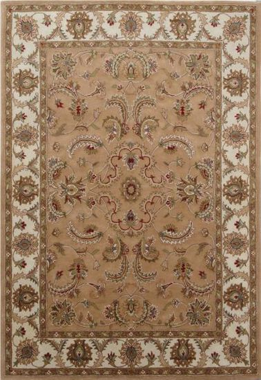 LBJ Hand Tufted Wool Camel/Ivory Traditional Rug