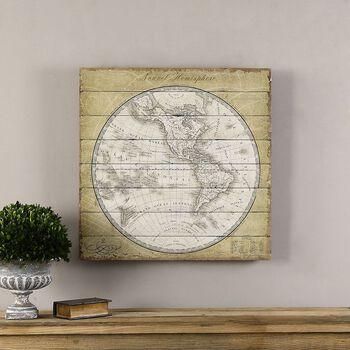 Uttermost French World Map Vintage Art