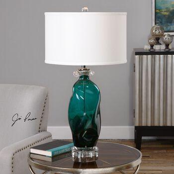Uttermost Rotaldo Blue-green Glass Table Lamp