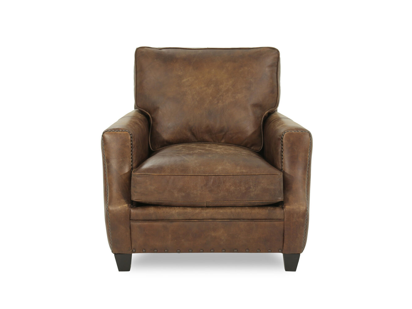 Bernhardt barclay leather mocha chair mathis brothers for Where to buy bernhardt furniture online