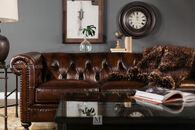 Bernhardt London Dark Brown Leather Club Sofa