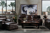 Simon Li Leather Longhorn Black Oak Sofa