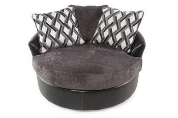 Ashley Kumasi Smoke Oversized Swivel Accent Chair