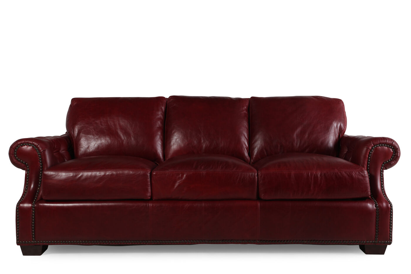 Usa Leather Marsala Red Sofa Mathis Brothers Furniture