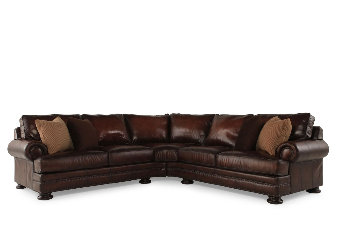 Bernhardt foster leather sectional mathis brothers furniture for Bernhardt furniture