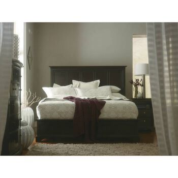 Stanley Transitional Polished Sable Queen Panel Bed
