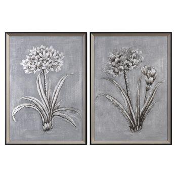 Uttermost Contemporary Botanicals Hand Painted Art S/2
