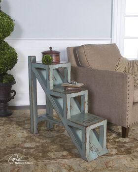 Uttermost Asher Blue Accent Table