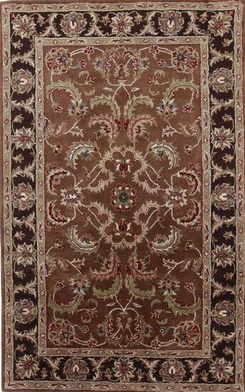 LBJ Hand Tufted Wool Brown/Dark Brown Traditional Rug