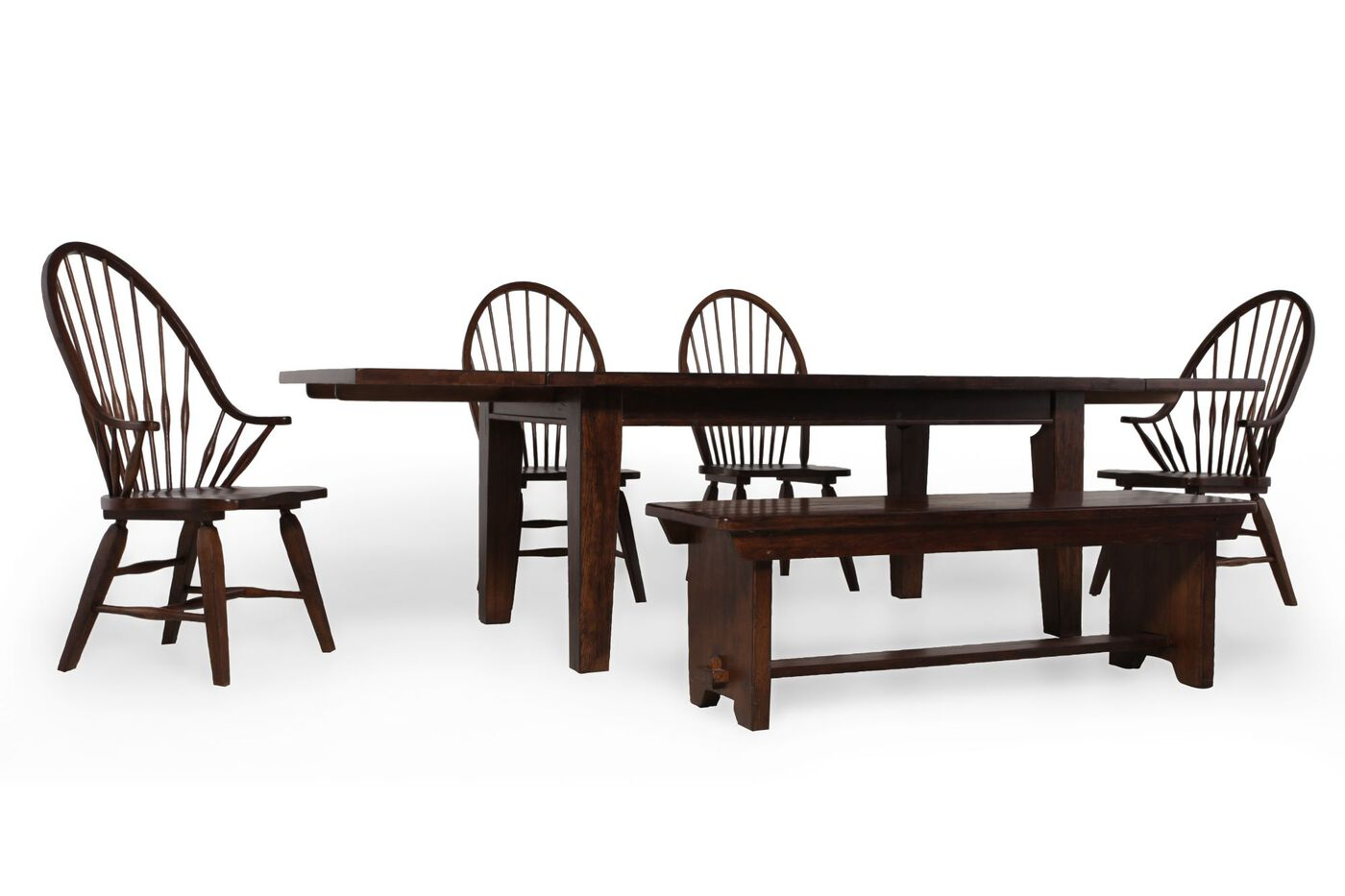 Broyhill attic rustic oak six piece dining set mathis for Broyhill dining room furniture