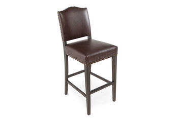 Boulevard Brown Leather Bar Stool