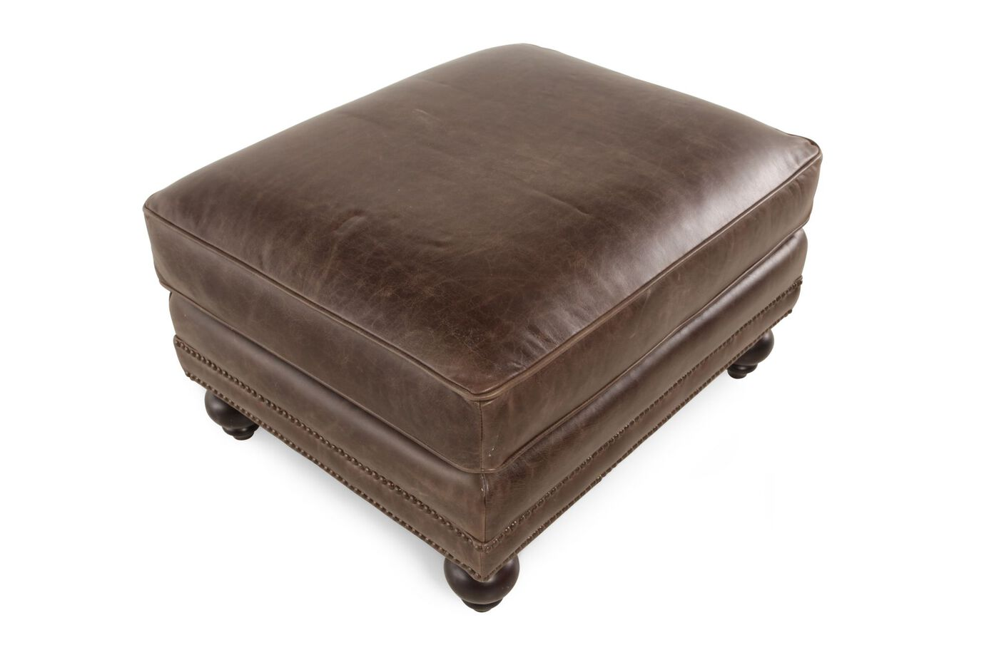 Bernhardt Brae Leather Ottoman Mathis Brothers Furniture