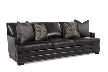 Bernhardt Cantor Graphite Leather Sofa