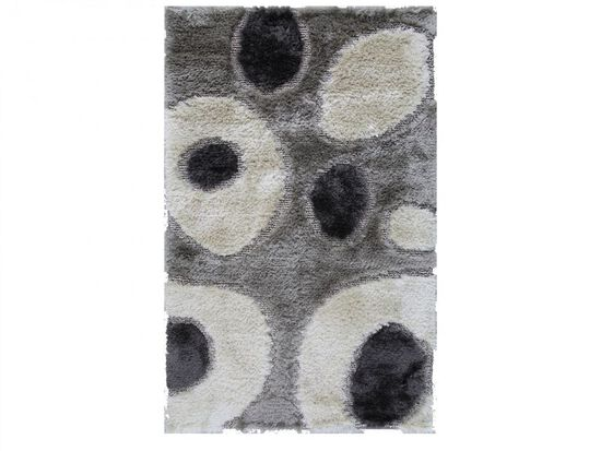 LBJ Hand Tufted Polyester Silver Circles Rug