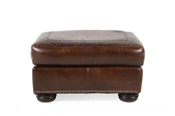 USA Leather Oak Paisley Ottoman