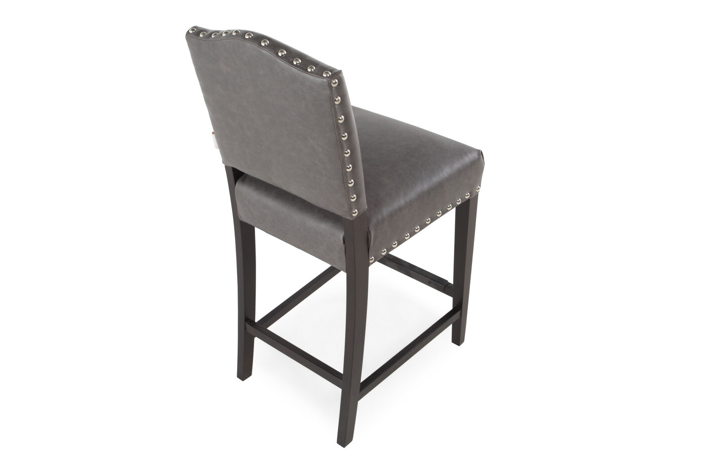 Boulevard Gray Leather Counter Stool Mathis Brothers