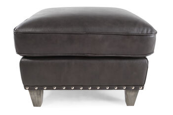 Boulevard Charcoal Leather Ottoman