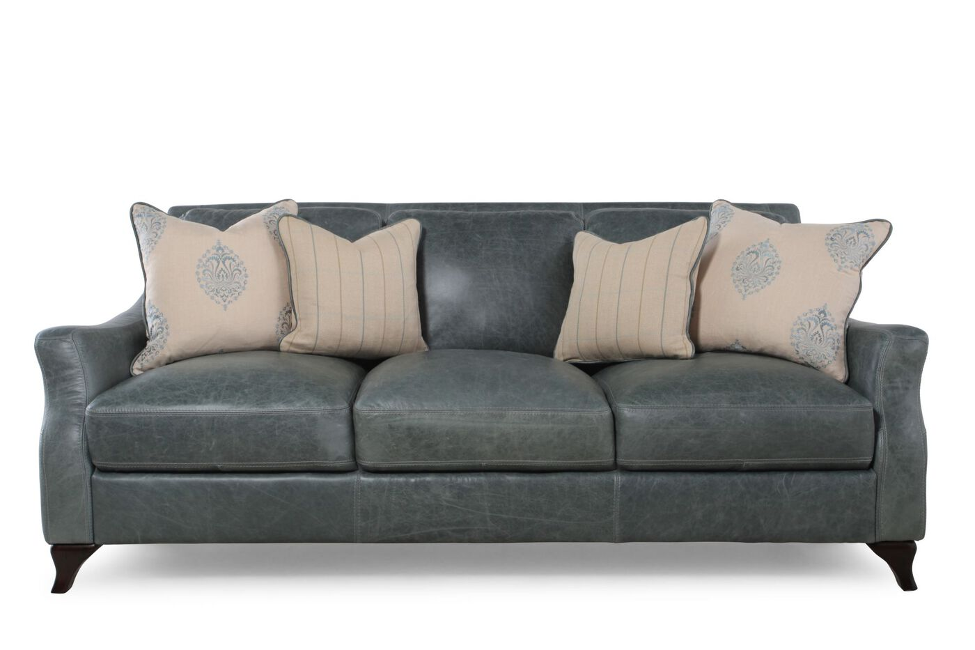Blue leather sofa mathis brothers for Blue leather couch