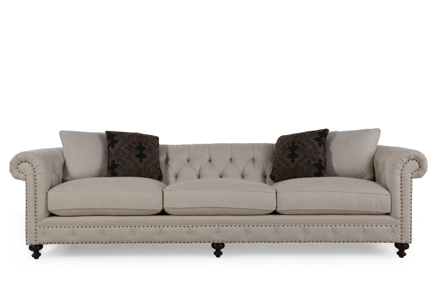 Bernhardt riviera large sofa mathis brothers furniture for Bernhardt living room furniture