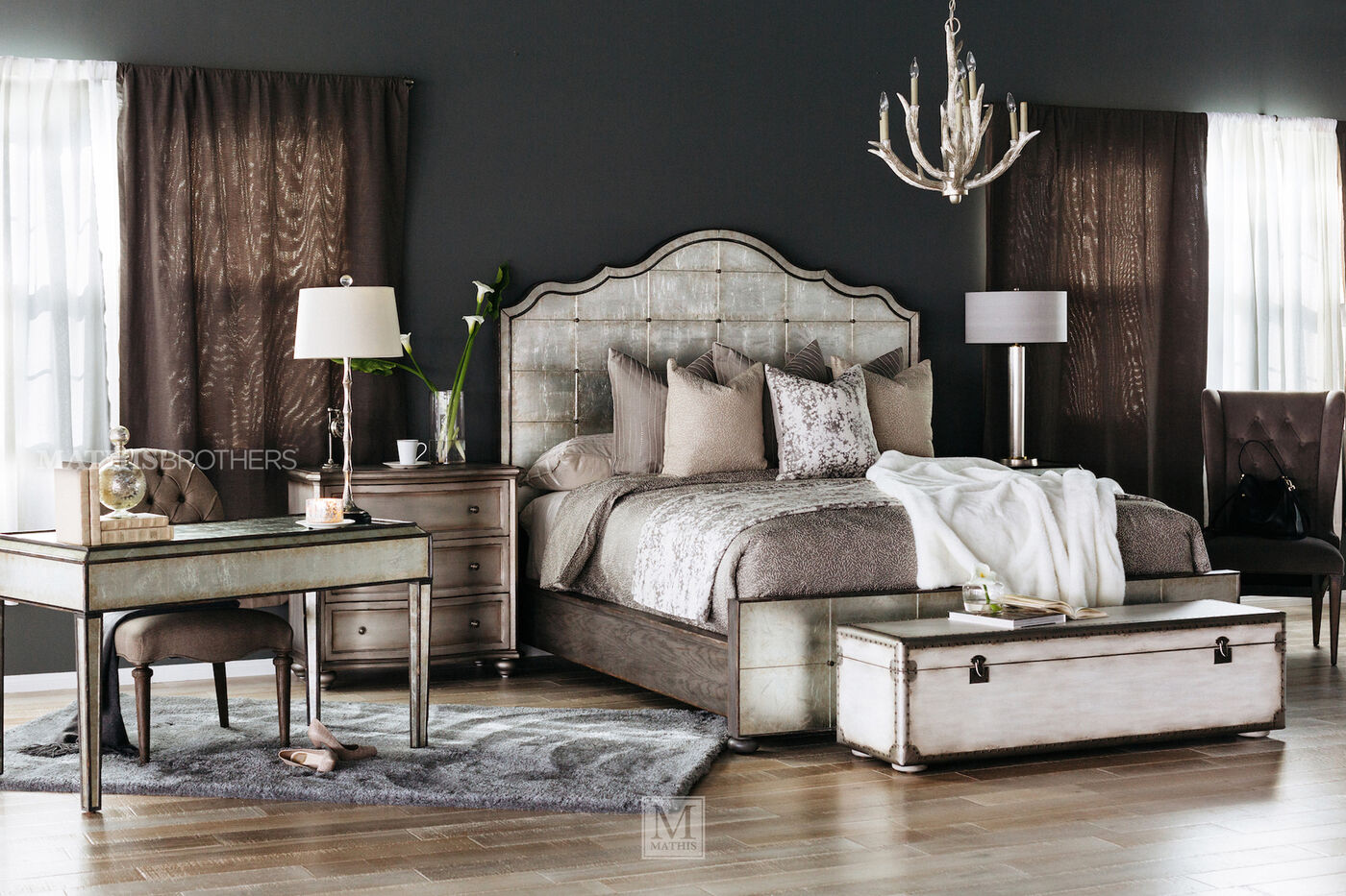 Hooker Arabella Mirrored Panel Bed Mathis Brothers Furniture