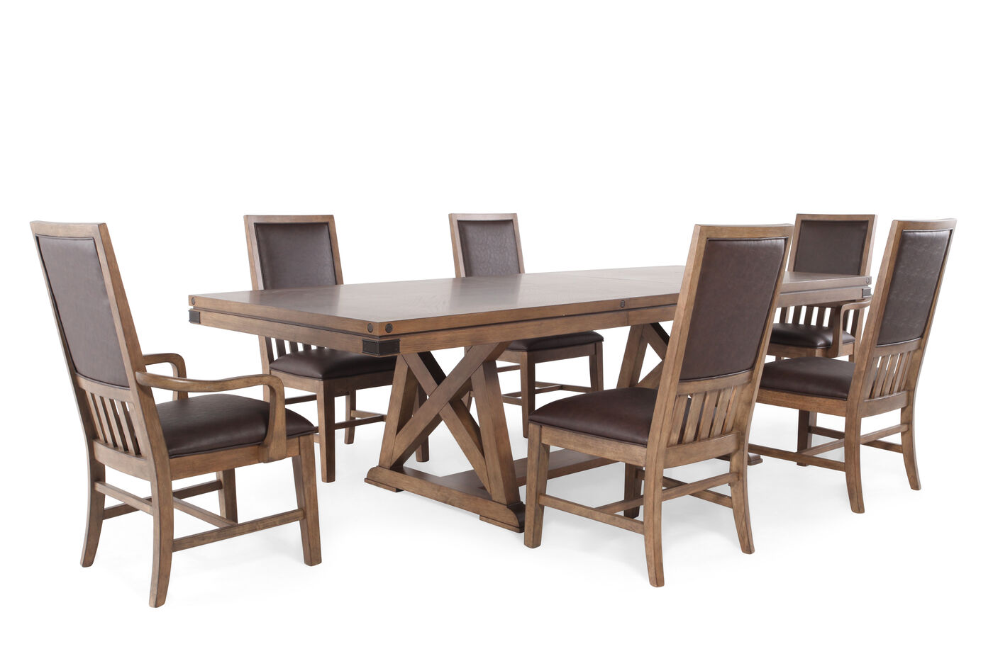 Legacy metalworks seven piece dining set mathis brothers for 7 piece dining room sets under 1000