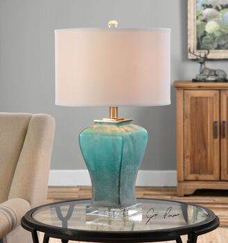 Uttermost Valtorta Blue-green Glass Table Lamp