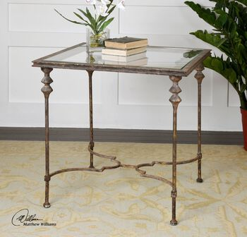 Uttermost Quillon Glass End Table